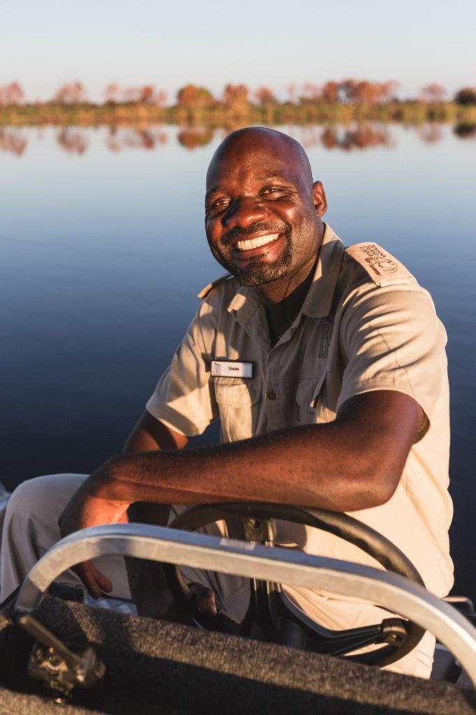Slade from Xugana Island Lodge on boating safari in the Okavango Delta