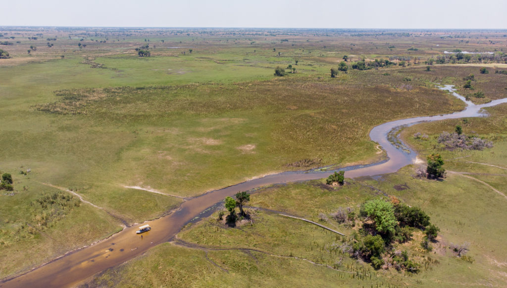 An aerial view of the sundowner spot near Camp Okavango taken this October 2020