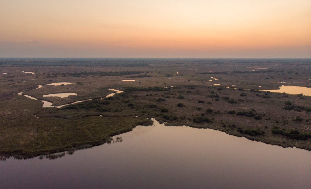 An aerial shot of the Xugana lagoon and surrounding Okavango Delta taken this October 2020