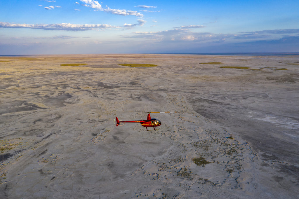 Helicopter flight over the Makgadikgadi Salt Pans