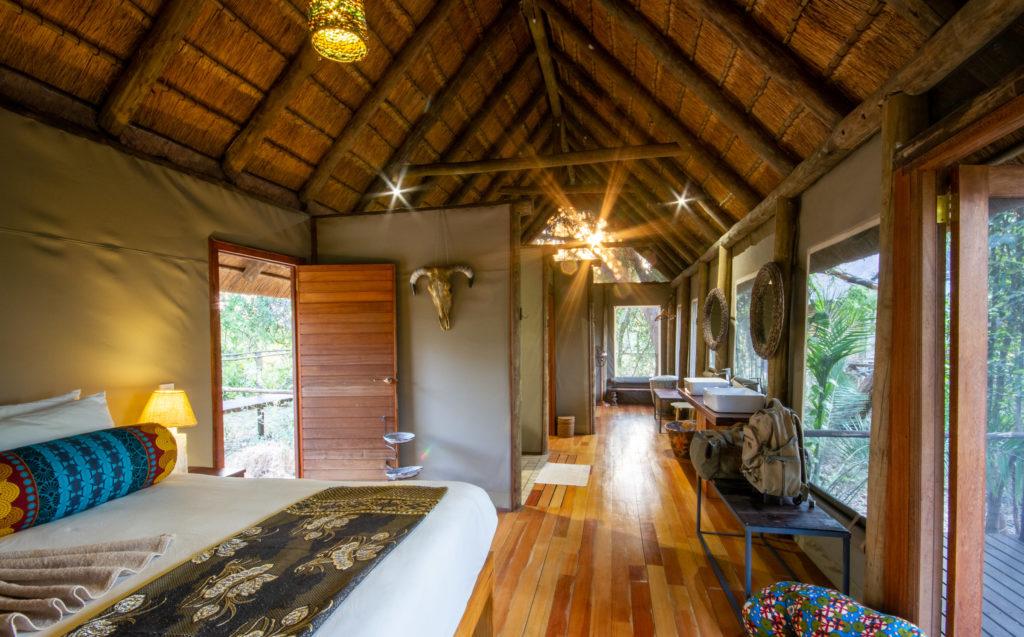 Guest rooms at Nxamaseri Island Lodge